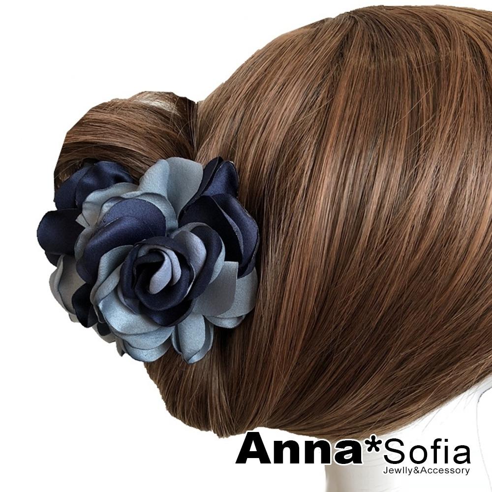 AnnaSofia 雙色綻瓣 純手工鯊魚夾髮抓髮夾(藏灰藍系)