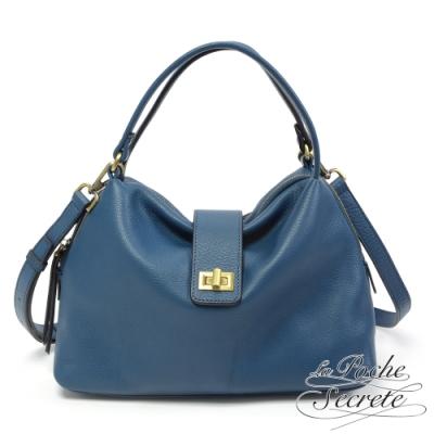 La Poche Secrete側背包 簡約真皮復古轉釦手提側背包-爵士藍