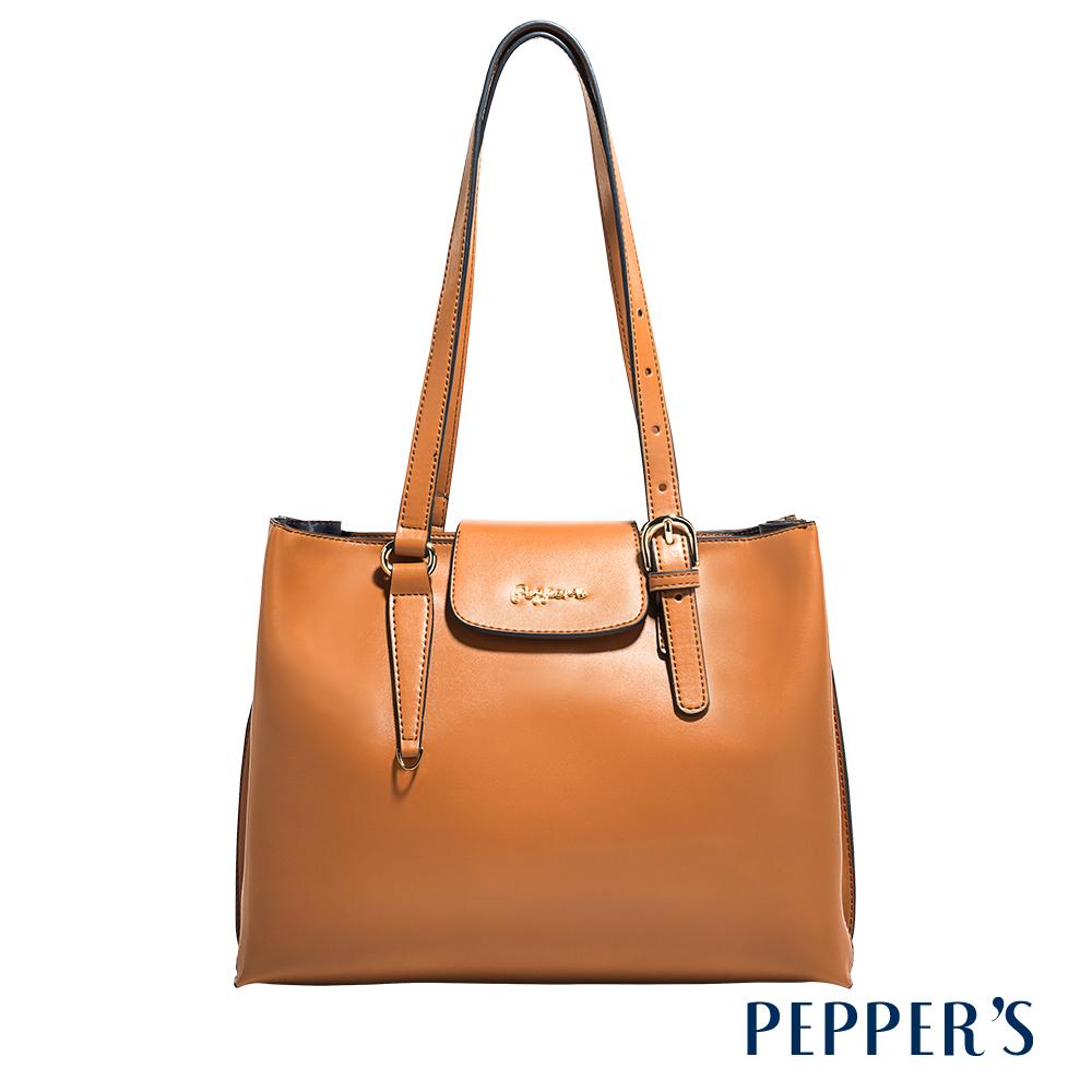 PEPPER`S Norah 牛皮方塊托特包 - 奶茶棕