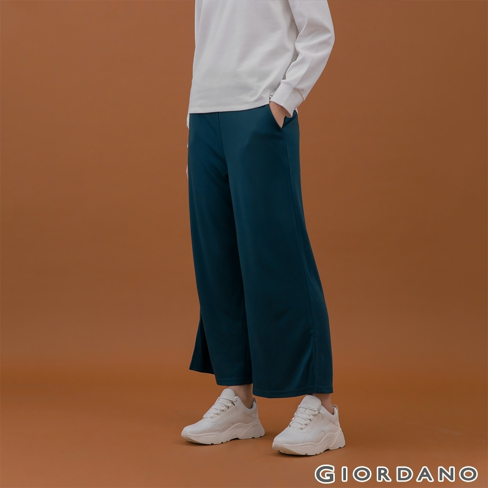 GIORDANO  女裝莫代爾垂墜風寬褲 - 53 水鴨藍