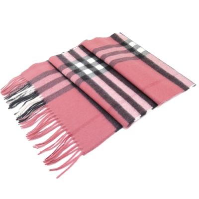 BURBERRY經典格紋100% 喀什米爾羊毛圍巾(草莓粉)