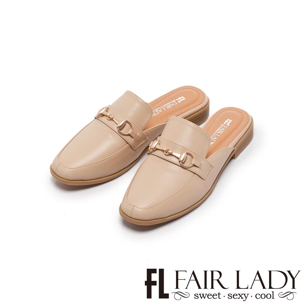 Fair Lady Hi Spring 金屬馬銜釦方頭樂福穆勒鞋 卡其