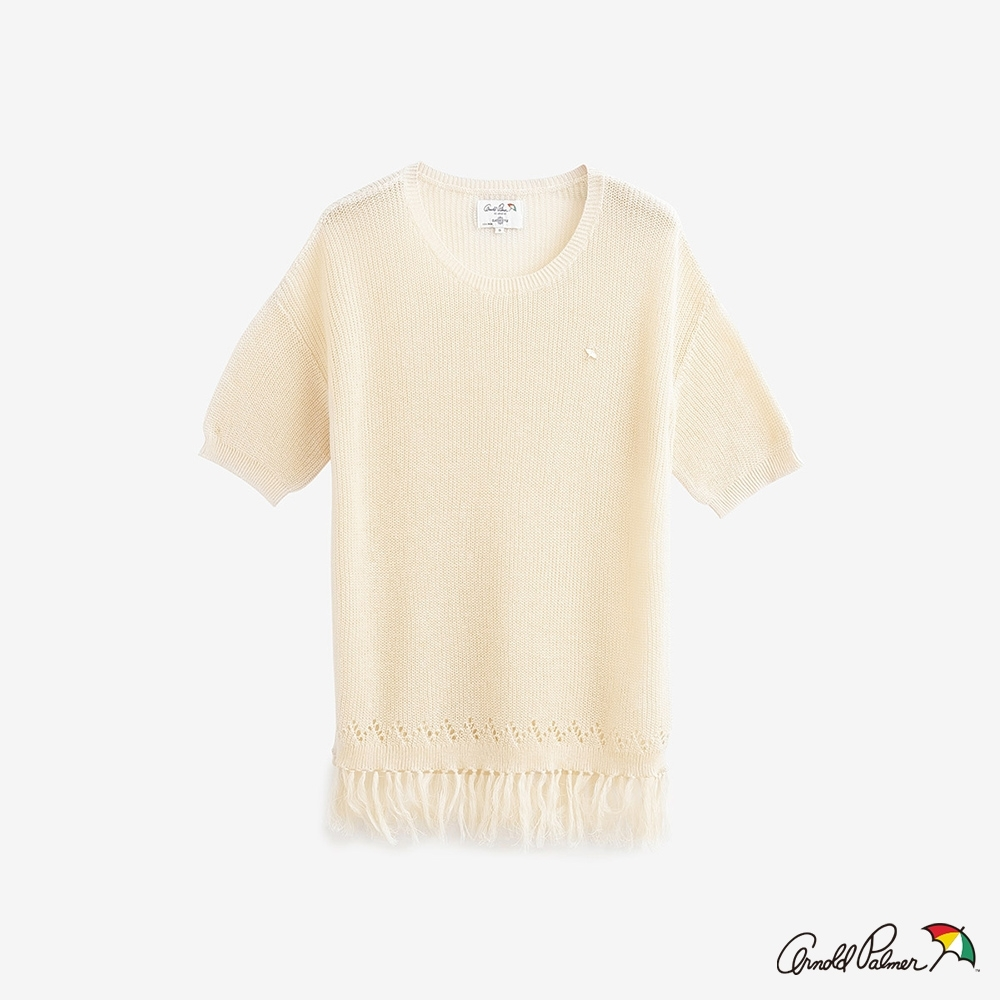 Arnold Palmer-女裝-下擺流蘇簍空細節線衫 -白