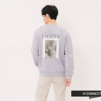H:CONNECT 韓國品牌 男裝 - 彩圖文字棉質長T-紫