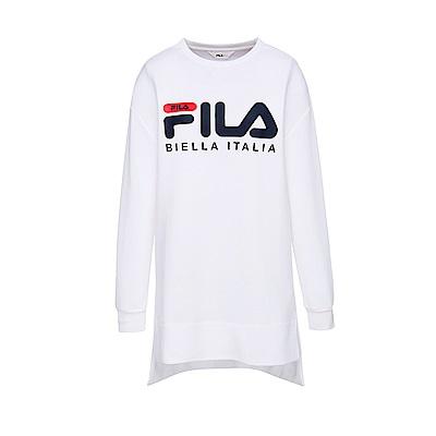 FILA 女款長袖長版T恤-白 5TES-5429-WT