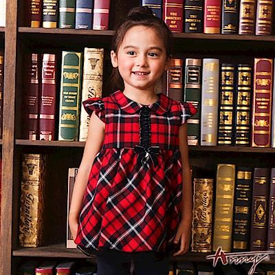 Annys學院格紋風單排荷葉壓褶洋裝*6256紅