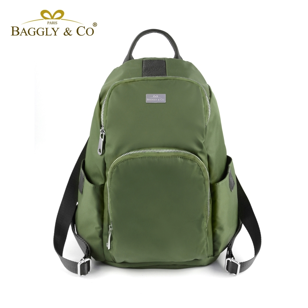 【福利品】【BAGGLY&CO】防水釋壓防盜真皮尼龍後背包-綠色