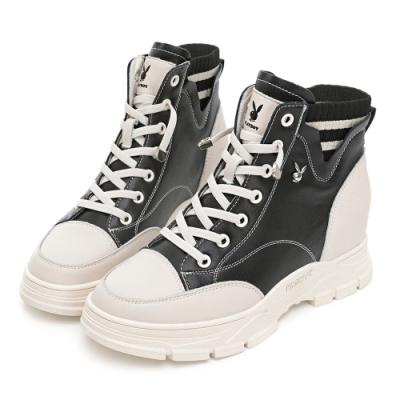PLAYBOY 內增高 時尚真皮襪靴-黑-Y7270CC