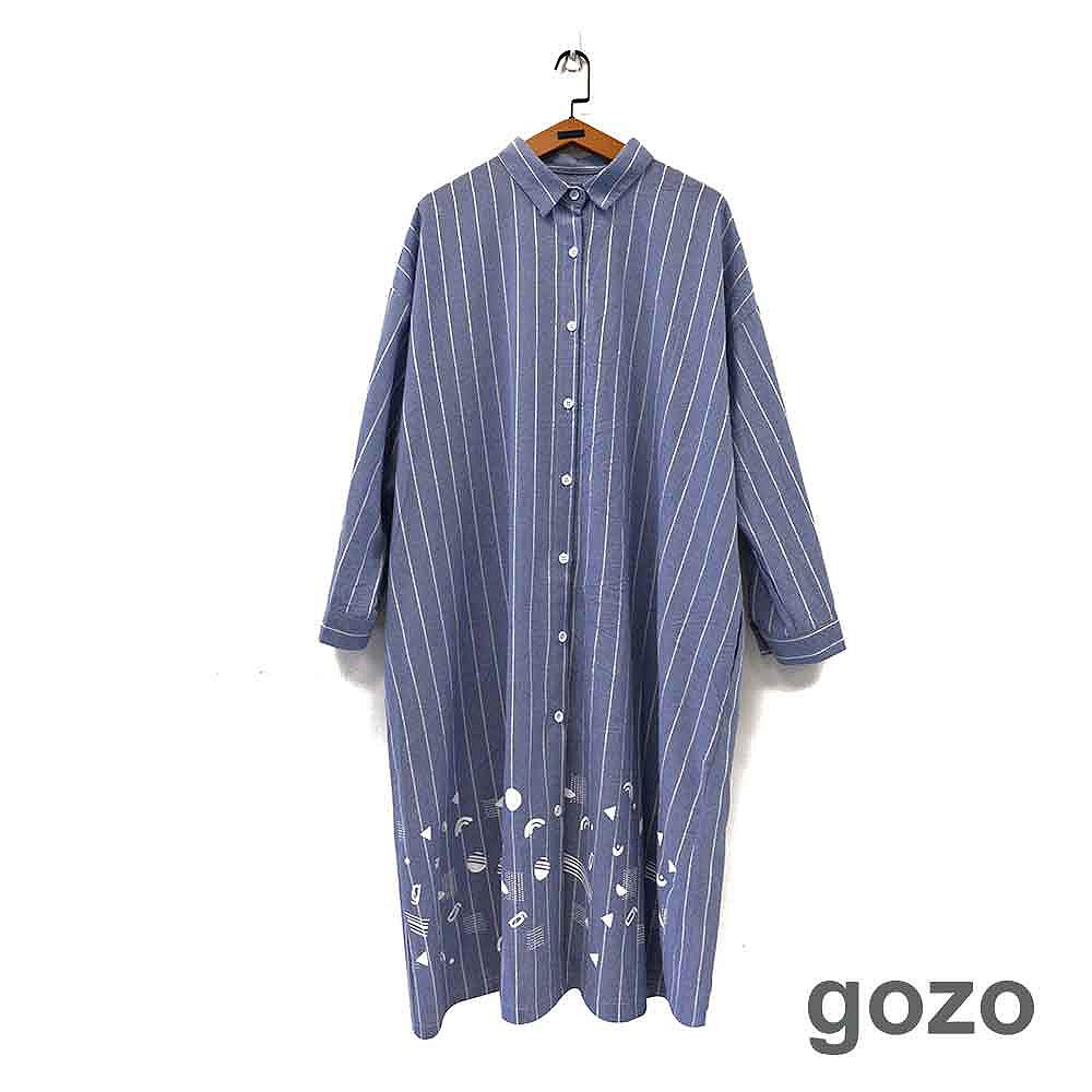 gozo 和風印花條紋長版襯衫洋裝(二色)