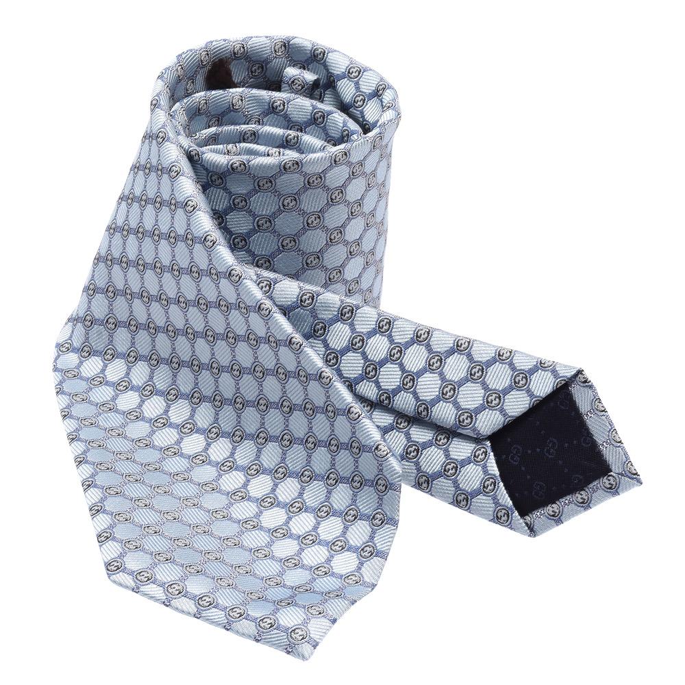 GUCCI 經典GG Guccissima緹花刺繡圖案絲質領帶(藍-148X8cm)