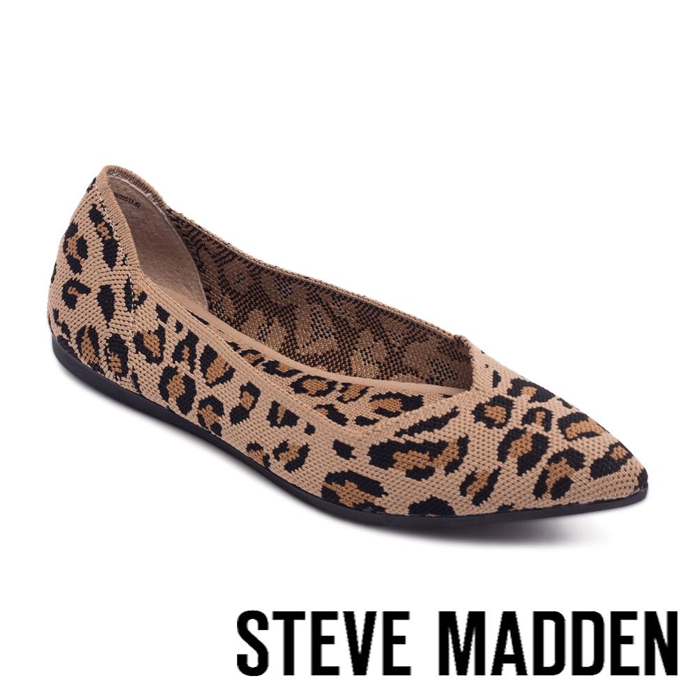 STEVE MADDEN-ROSY 彈性布尖頭平底鞋-豹紋