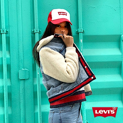 Levis 女款 牛仔外套 Original版型 紅藍條紋下擺
