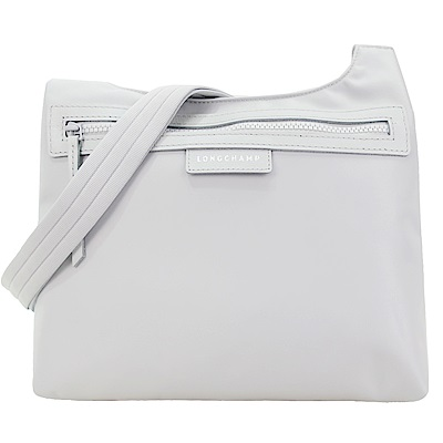 LONGCHAMP PLIAGE NEO 厚尼龍前口袋拉鍊斜肩背包(銀灰)