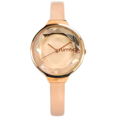 rumba time 紐約品牌 切割玻璃鏡面 亮面真皮手錶-奶茶色x玫瑰金框/30mm