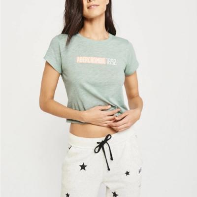 麋鹿 AF A&F 經典文字印刷短袖T恤(女)-麻花薄荷綠色