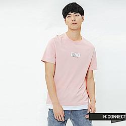 H:CONNECT 韓國品牌 男裝-層次感標語T-shirt-粉