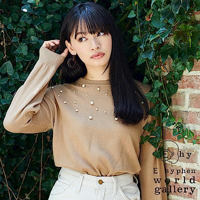 E hyphen 胸前珍珠裝飾落肩長袖針織衫