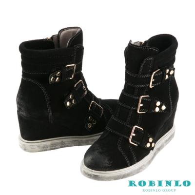 Robinlo 牛絨擦色飾釦增高休閒靴 黑色