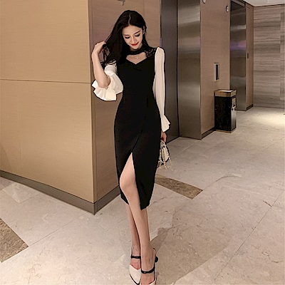 DABI 韓系復古顯瘦氣質蕾絲拼接性感長袖洋裝