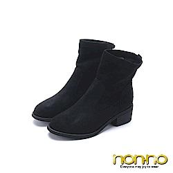 nonno 諾諾 氣質優雅方格鑲鑽粗跟短靴 黑