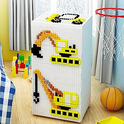【魔法腳印】童趣益智積木拼圖五層玩具收納櫃-挖土機