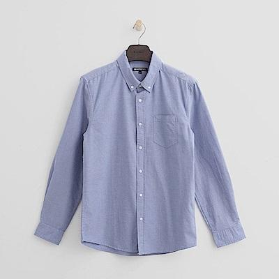 Hang Ten - 男裝 - 經典休閒純棉襯衫-藍色