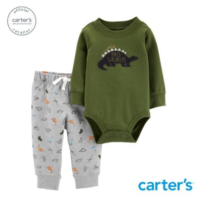 Carter's台灣總代理 軍綠俏皮恐龍2件組套裝
