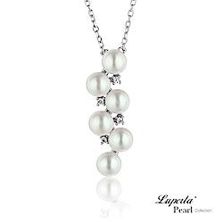 大東山珠寶 純銀晶鑽天然珍珠項鍊鎖骨鍊  璀璨星辰