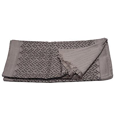 HERMES 經典H LOGO圖騰喀什米爾混絲圍巾(摩卡棕)