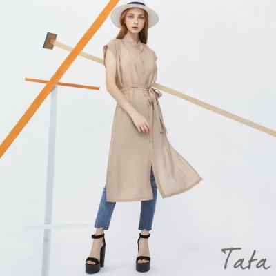 側開叉長版上衣(附綁帶) TATA-F