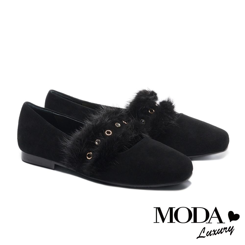 低跟鞋 MODA Luxury 低調奢華貂毛條帶全真皮方頭低跟鞋-黑