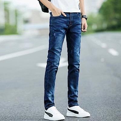 BuyGlasses 摺痕刷色割破牛仔長褲