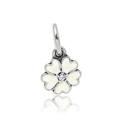 Pandora 潘朵拉 魅力月見草琺瑯鑲鋯 垂墜純銀墜飾 串珠