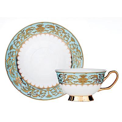 Royal Duke骨瓷咖啡杯碟組-金色風華(淺藍)(二杯二碟)