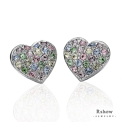 Rshow Lady 粉彩密釘鑲心型水鑽耳環白金