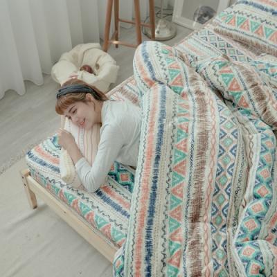 BUHO 極柔暖法蘭絨兩用毯被床包雙人加大四件組(波荷奇珂)