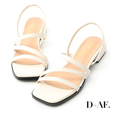 D+AF 優雅滿分.一字斜帶方跟涼鞋*米白