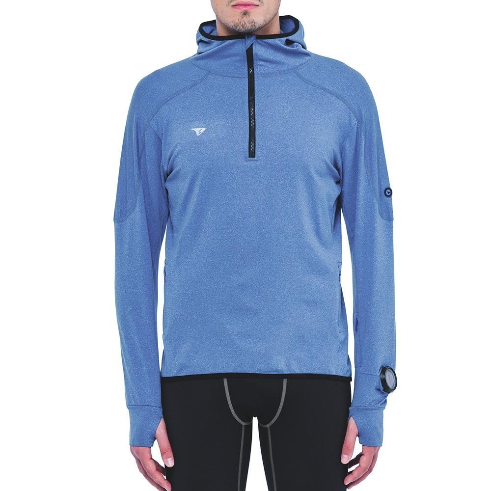 SUPERACE S.Café咖啡紗內刷毛保暖層跑步上衣 / 男款 / 藍色