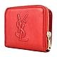 YSL Saint Laurent Belle de Jour系列經典 LOGO 皮革壓紋皮扣短夾(金屬紅) product thumbnail 1
