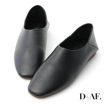 D+AF 極簡定番.素面方頭可後踩懶人鞋*黑