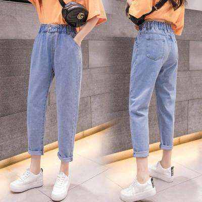 La Belleza鬆緊腰釦環側口袋復古刷色牛仔褲哈倫褲