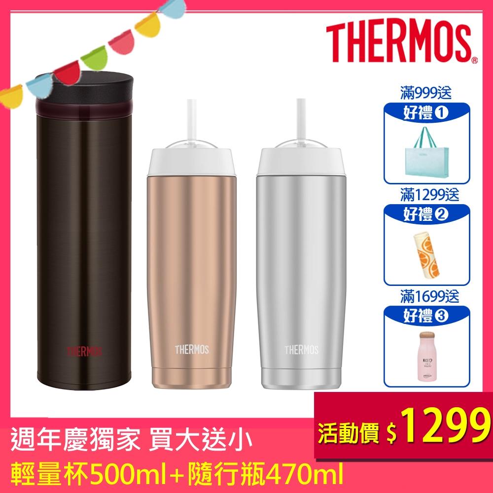 THERMOS膳魔師不鏽鋼真空保溫杯0.5L(JNO-501)-ESP(咖啡色)