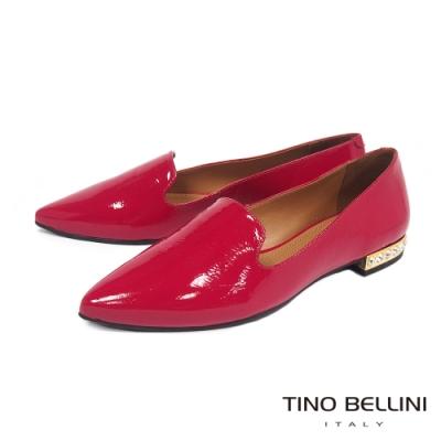 Tino Bellini 巴西進口牛漆皮平底樂福鞋 _紅