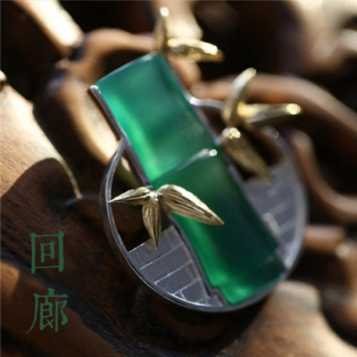 東方美學古典文藝曲徑通幽翡翠質感中式竹葉意境純銀胸針-設計所在