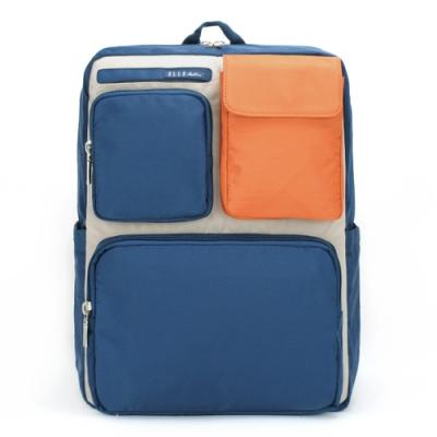【ELLE Active】玩色方塊系列-後背包-大-橘色