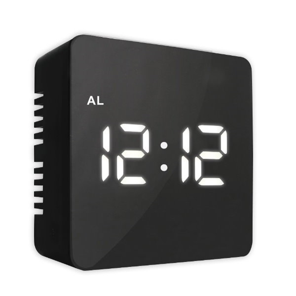 KINYO USB/電池雙供電多功能鏡面電子鬧鐘(顏色隨機)