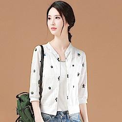 初色  繡花立領七分袖罩衫-太陽花-(L-2XL可選)