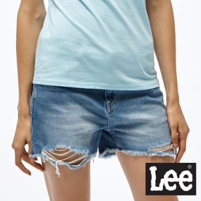 Lee 牛仔短褲 寬版破壞 女 淺藍