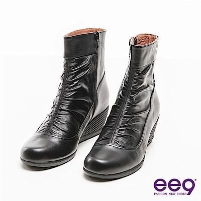 ee9 MIT經典手工系列~簡約素面立體抓皺個性楔型短靴~黑色