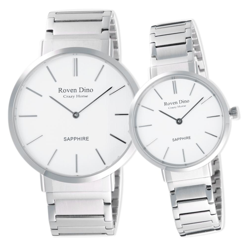 Roven Dino羅梵迪諾 典雅時尚細緻對錶-銀X白-RD6068S-336W